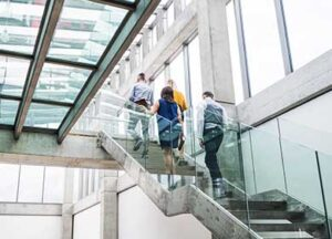 colleagues walking stairs